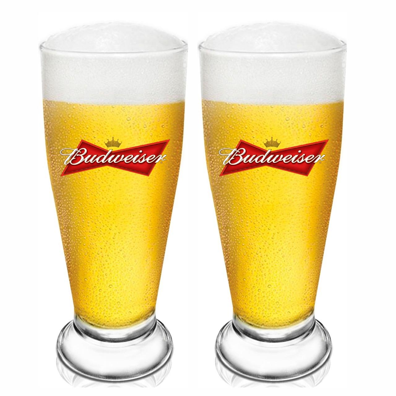 Jogo de 2 Copos Tulipa Cerveja Bud Home Bar