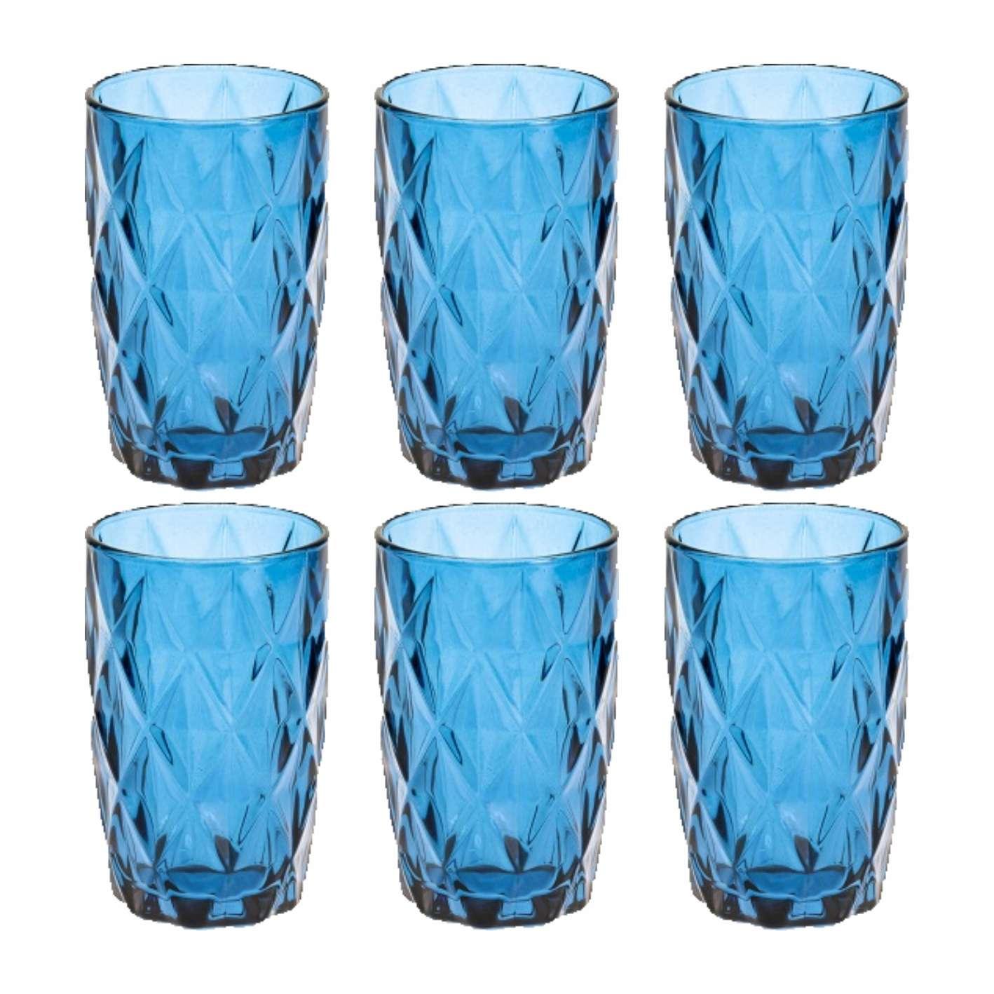 Jogo de 6 copos Diamante Azul 360ml