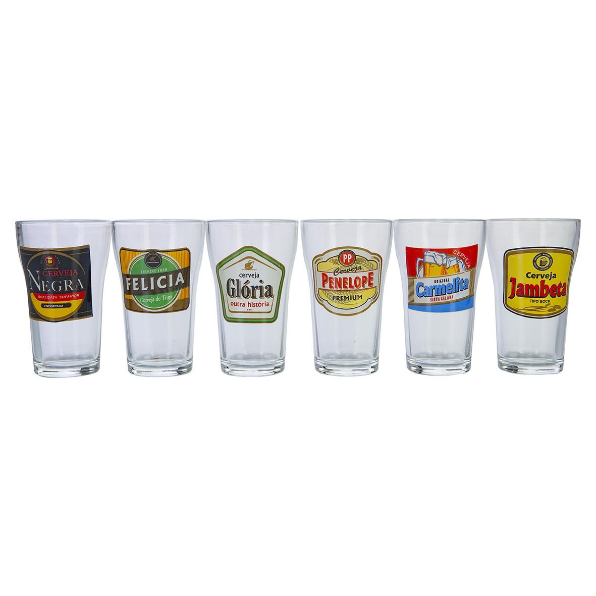 Jogo De Copos Para Cerveja Boteco Vintage HMartin 200ml - 6 Peças