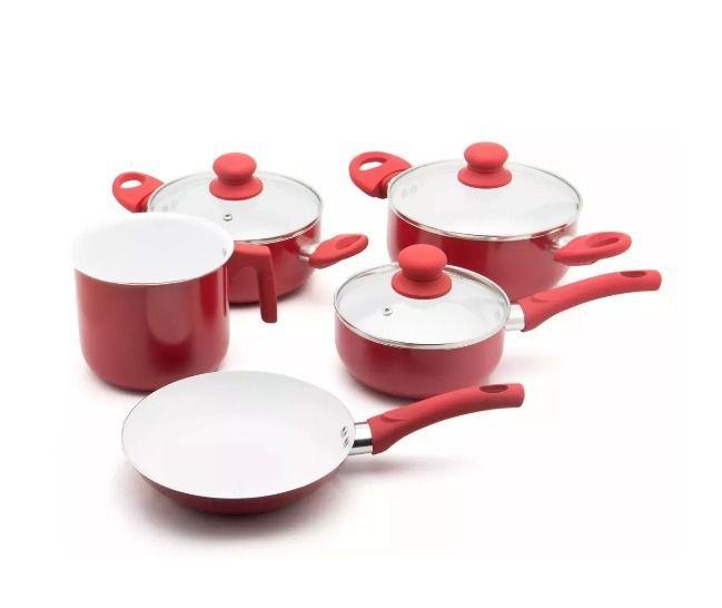 Jogo De Panela Cerâmica 5 Peças Fratelli Antiaderente Vermelha