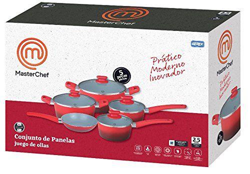 Jogo De Panela Cerâmica 10 Peças Masterchef Original Com Pegadores
