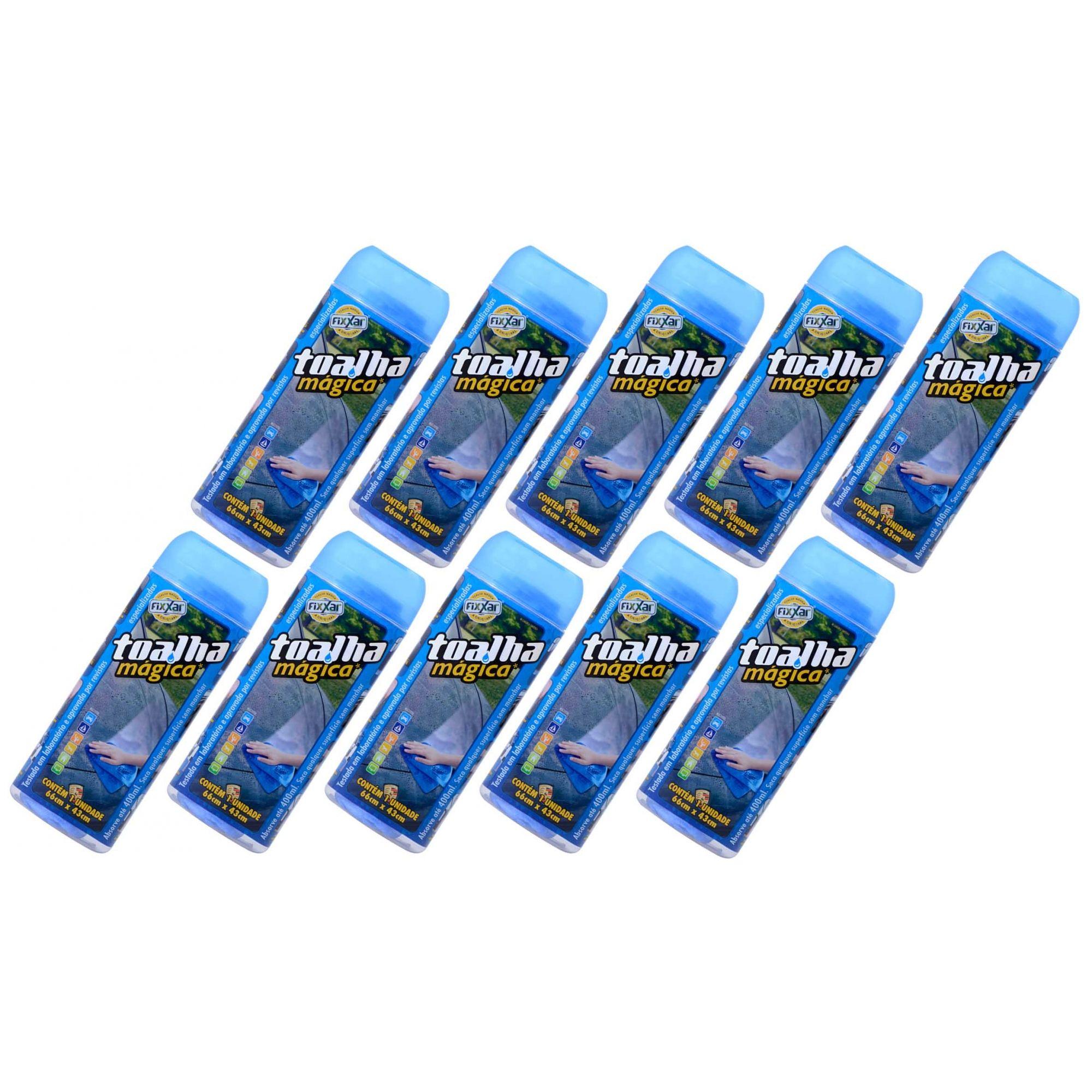 Toalha Mágica Fixxar Original Multiuso Kit com 10 Absorve Até 400ml de Líquidos Limpa Seca