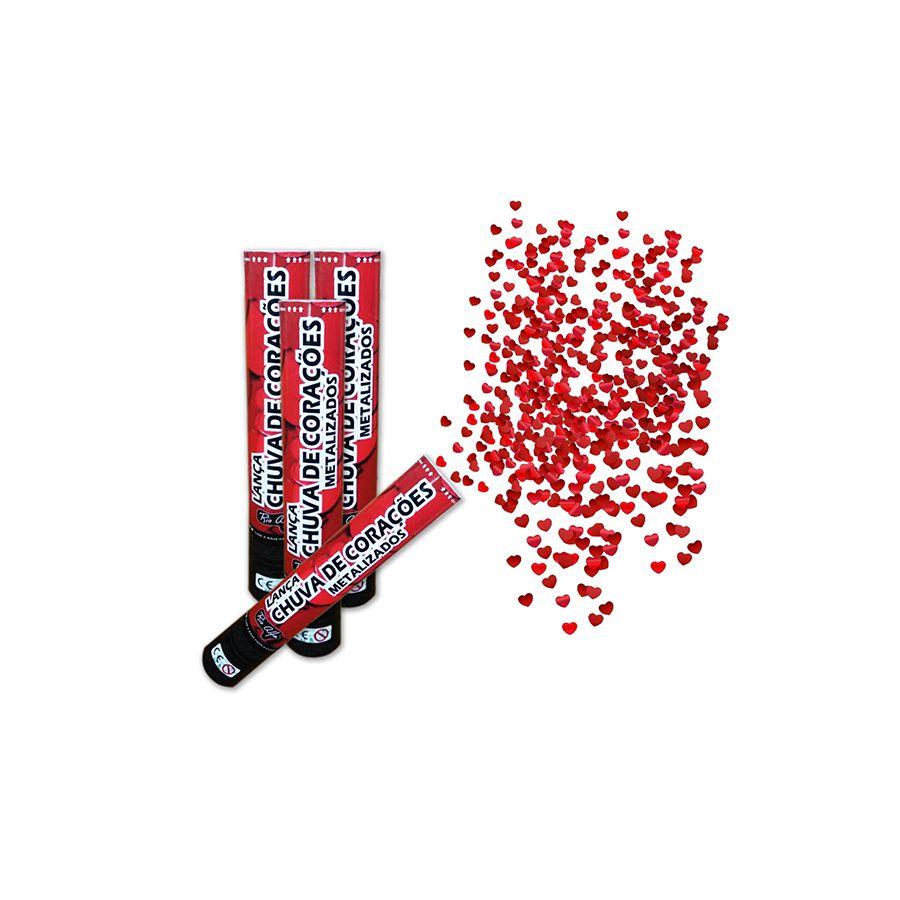 Kit 12 Lanças Confetes Coração Metalizado Para Festas - Vermelho