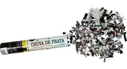 Kit 24 Lanças Confetes Chuva de Prata Festas - Prateado