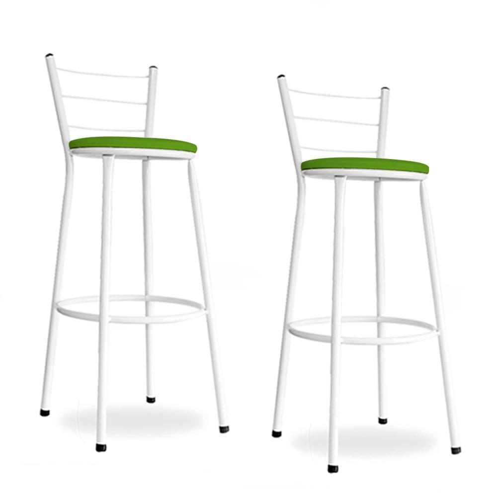 Kit 2 Banquetas Bistro Aço Em Pintura Epoxi Branca Com Assento Verde