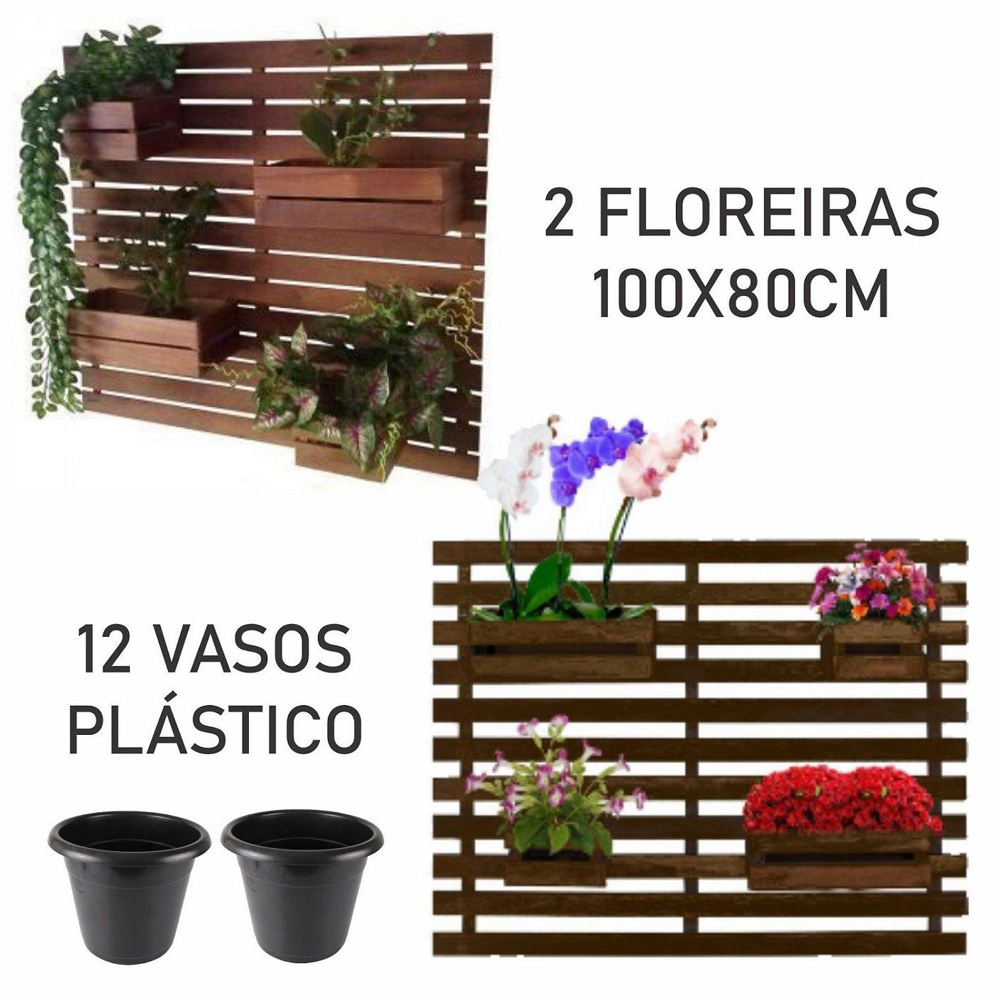 Kit 2 Jardins Verticais 4 Cachepôs 100 X 80cm Imbuia + 12  Vasos Floreira