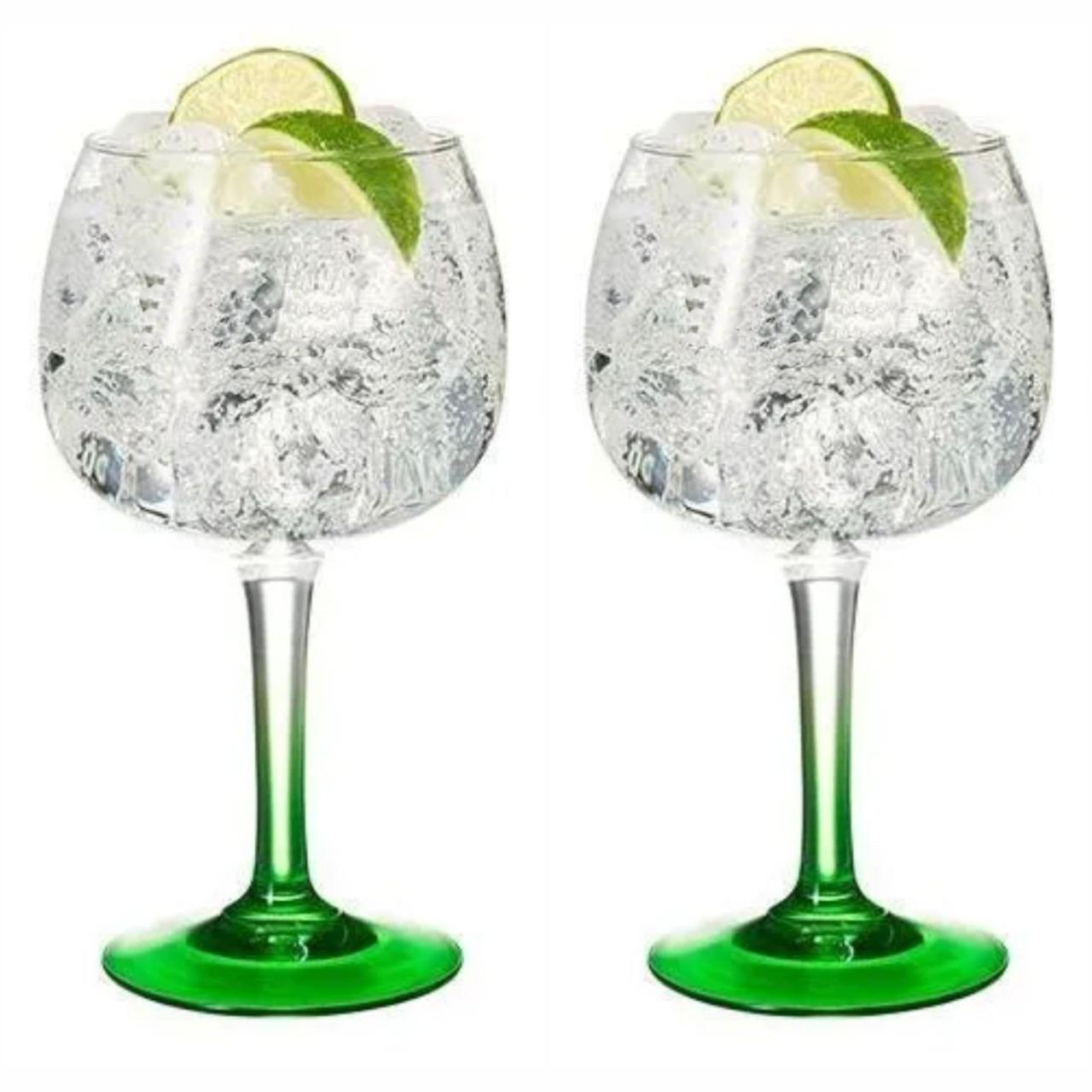 Kit 2 Taças de Gin com Base Verde em Vidro 600 ml