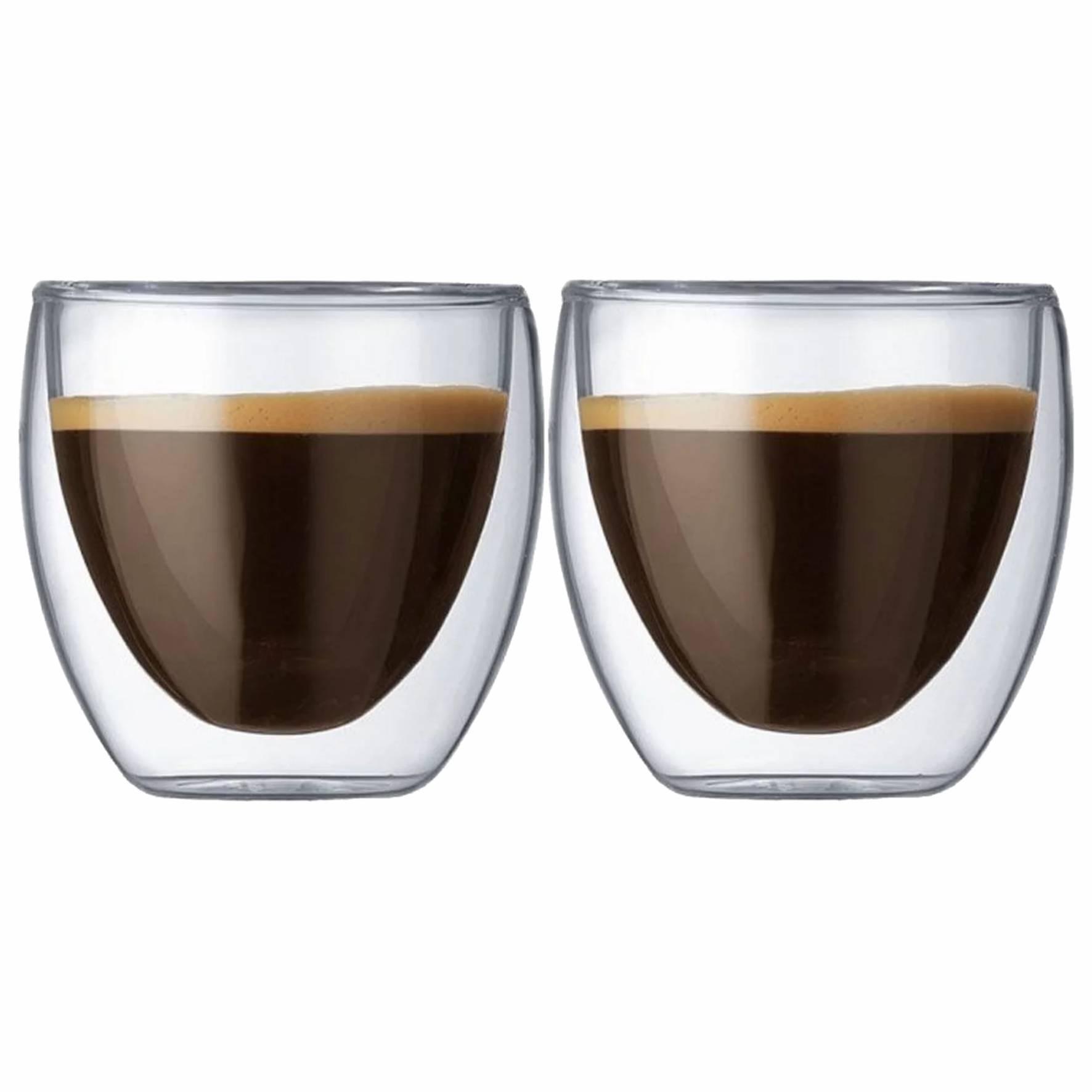 Kit 2 Xícaras Parede Dupla 70ml para Café