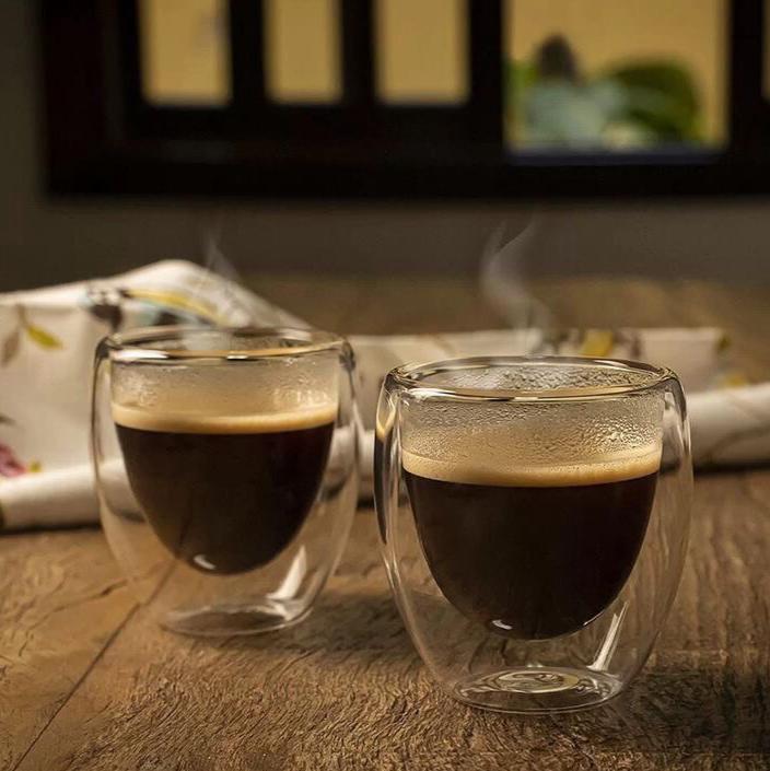 Kit 2 Xícaras Parede Dupla 70ml para Café / Chá