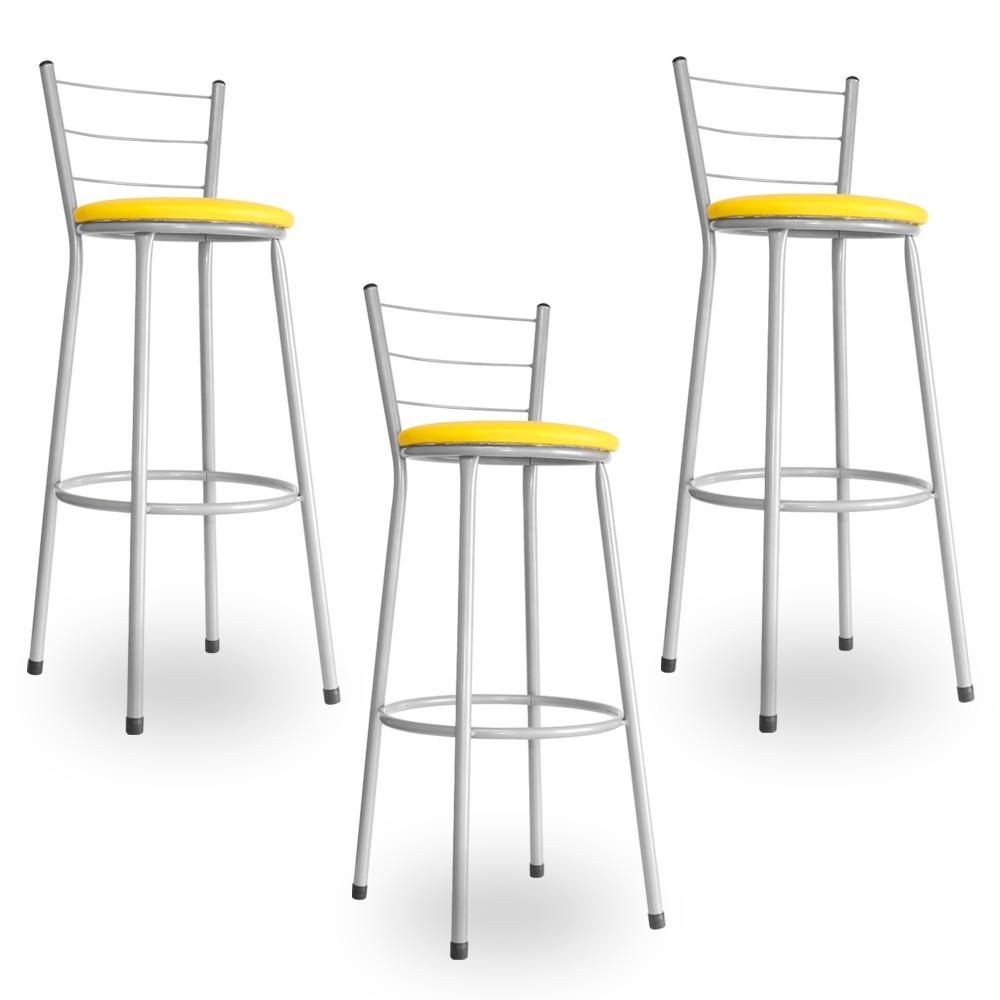 Kit 3 Banquetas Bistrô Aço Em Pintura Epóxi Prata Com Assento Amarelo