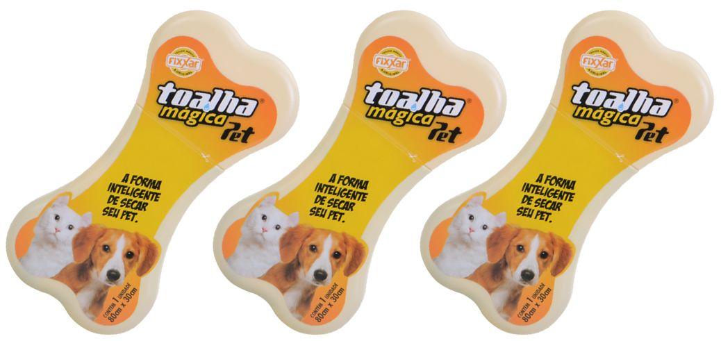 Toalha Higiênicas Mágica Linha Pet Kit com 3 Fixxar Para Bichinhos de Estimação
