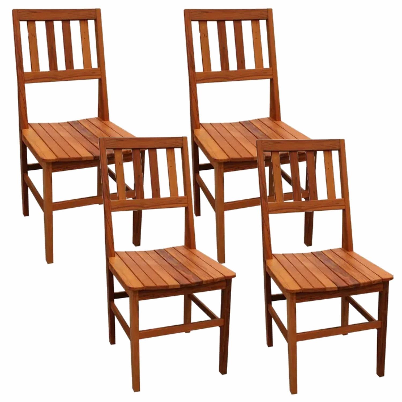 Kit 4 Cadeiras de Madeira Rústica de Demolição Cambury Grande