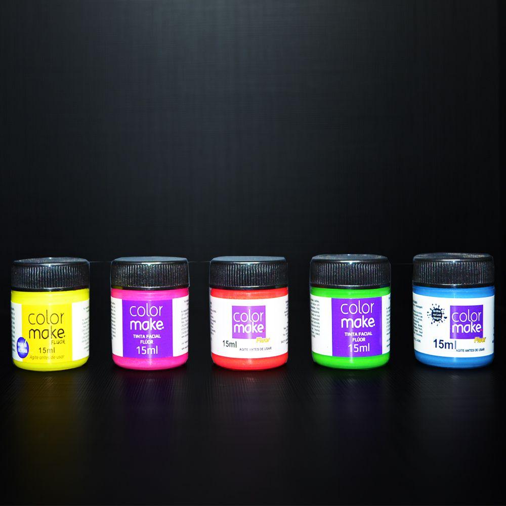 Kit 4 Cores Tinta Facial Líquida Neon ColorMake