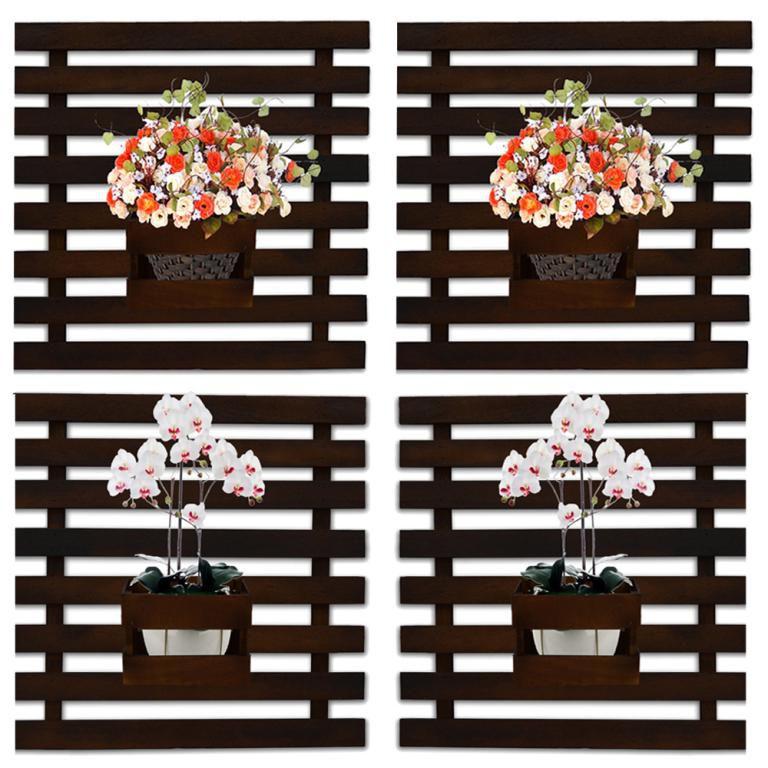Kit 4 Floreira Jardim Vertical Madeira 50 x 52cm Imbuia