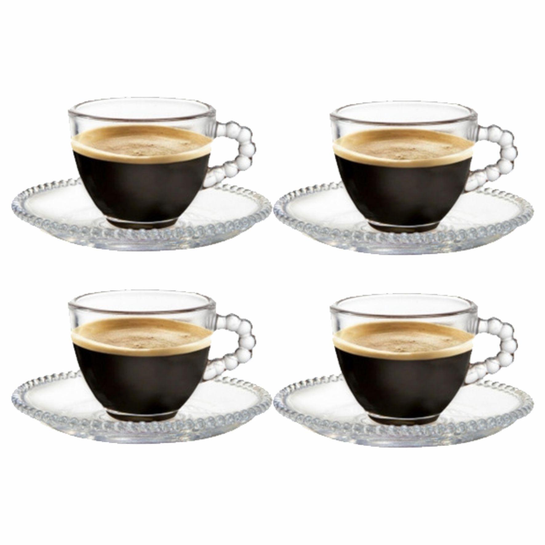 Kit 4 Xícaras Bolinha com Pires 100ml Cristal para Café