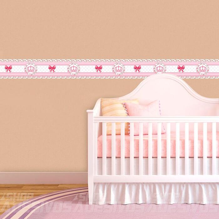 Adesivo de Parede Faixa Decorativa Kit com 6 Para Quarto Infantil Coroa Floral
