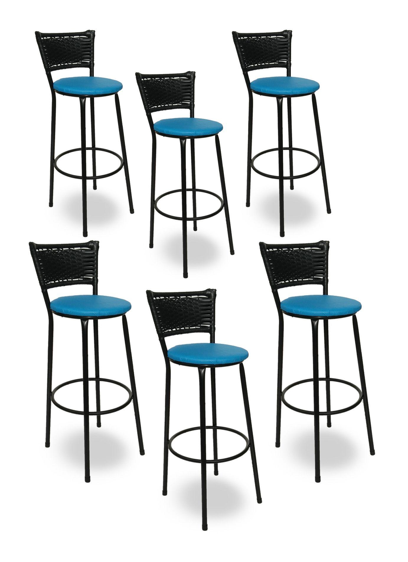 Kit 6 Banquetas Bistrô Hawaii Rattan Junco Preto Epóxi e Assento Azul