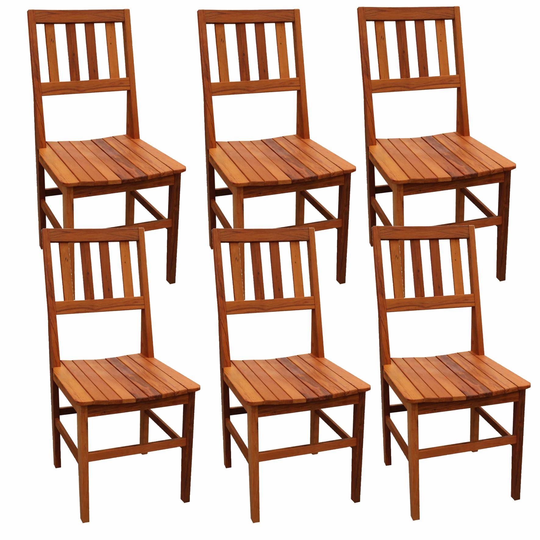 Kit 6 Cadeiras de Madeira Rústica de Demolição Cambury Grande