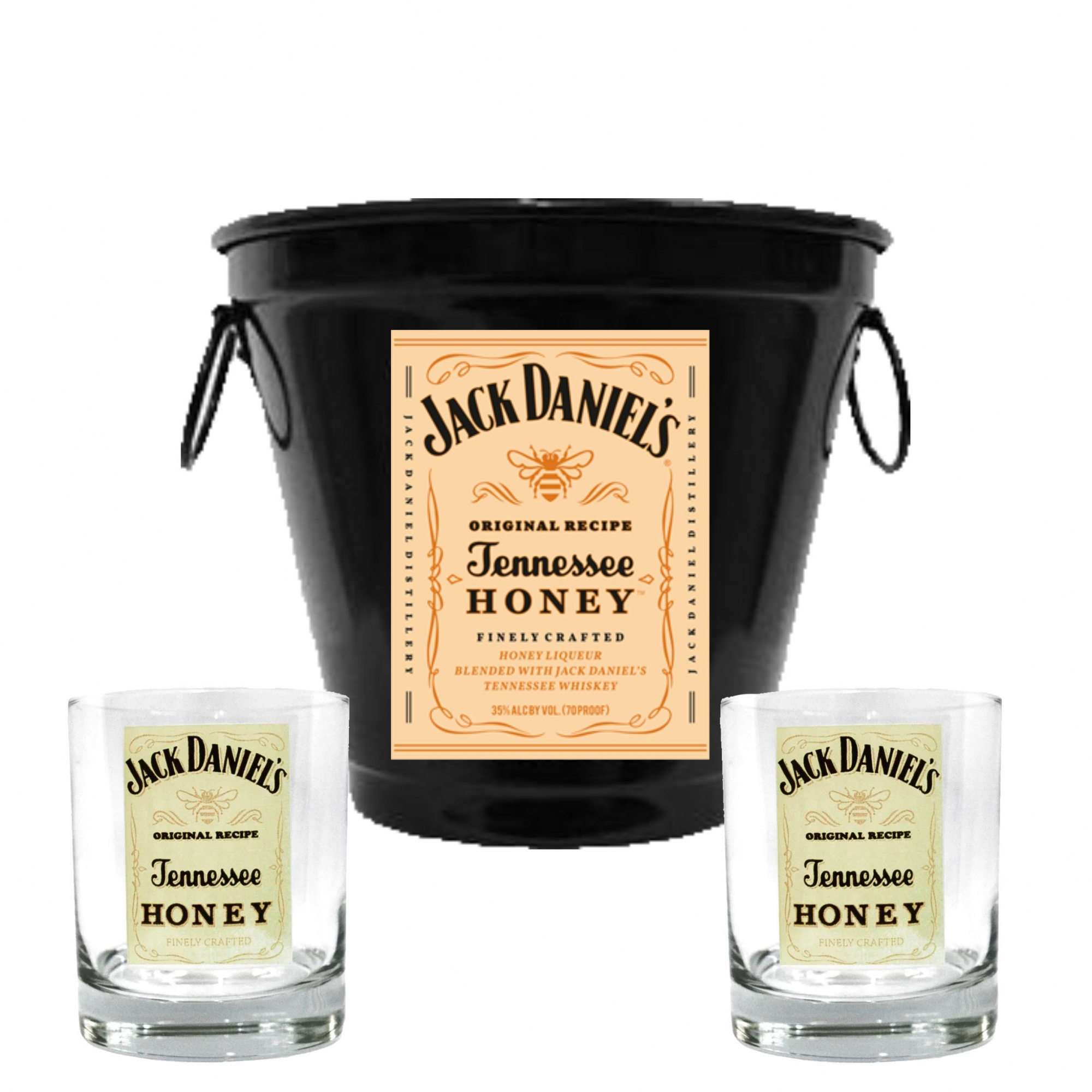 Kit Balde + 2 Copos Jack Mel 290ml Whisky