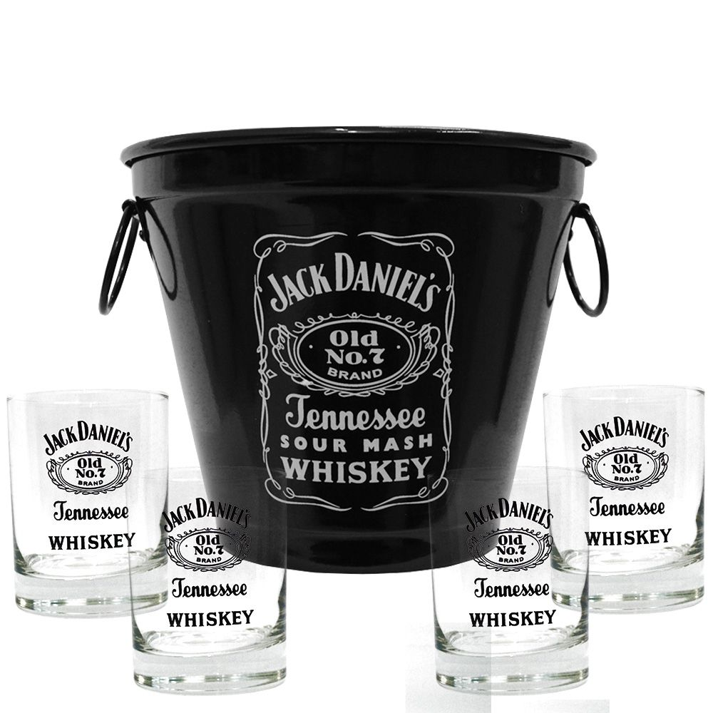 Kit Balde + 4 Copos Jack Daniel's sem fundo 290ml Whisky