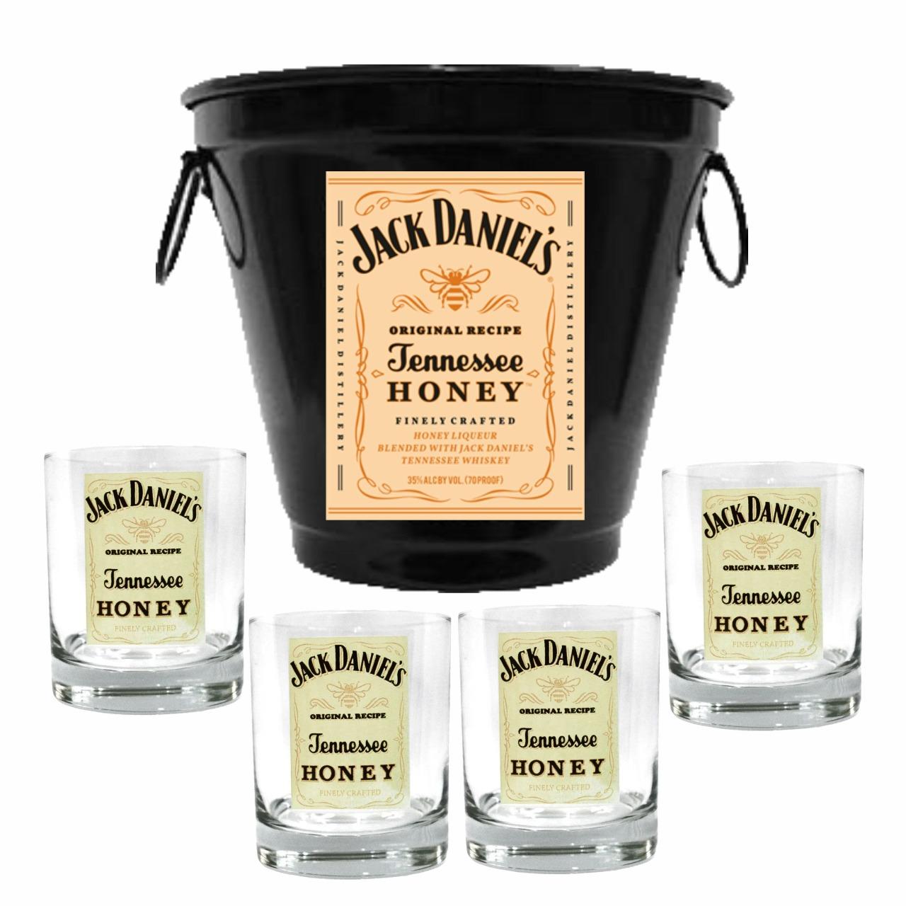 Kit Balde + 4 Copos Jack Mel 290ml Whisky