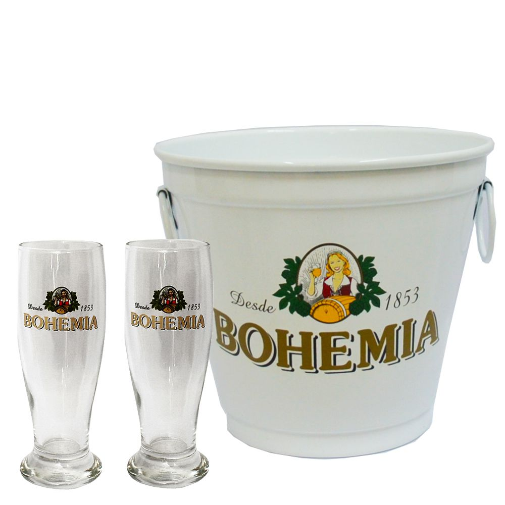 Kit Balde Cerveja + 2 Tulipa Bohemia Home Bar