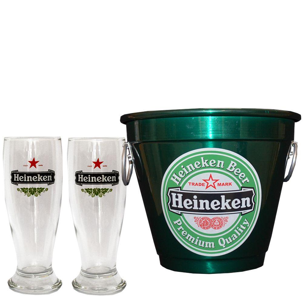 Kit Balde Cerveja + 2 Tulipa Hkn Verde Home Bar