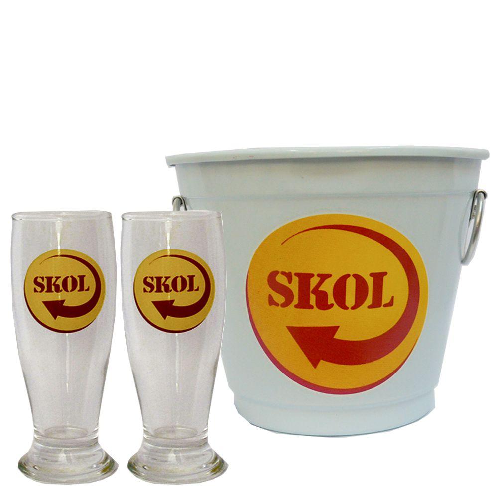Kit Balde Cerveja + 2 Tulipa Skol Home Bar