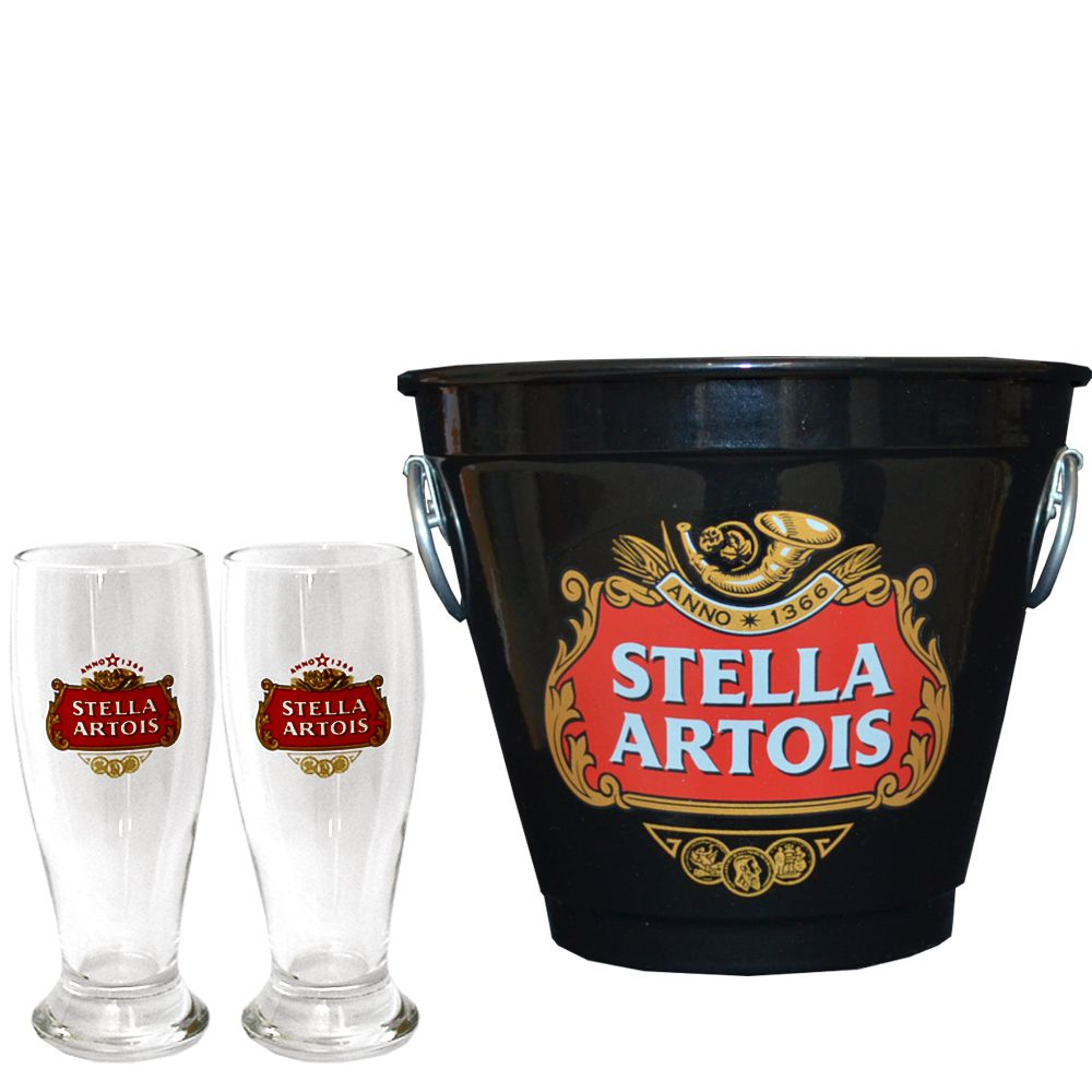 Kit Balde Cerveja + 2 Tulipa Stella Artois Preto Home Bar