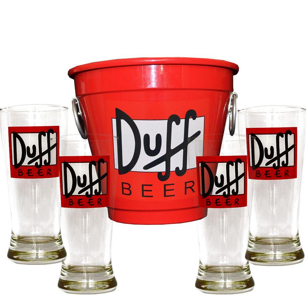 Kit Balde Cerveja + 4 Tulipa Duff Home Bar