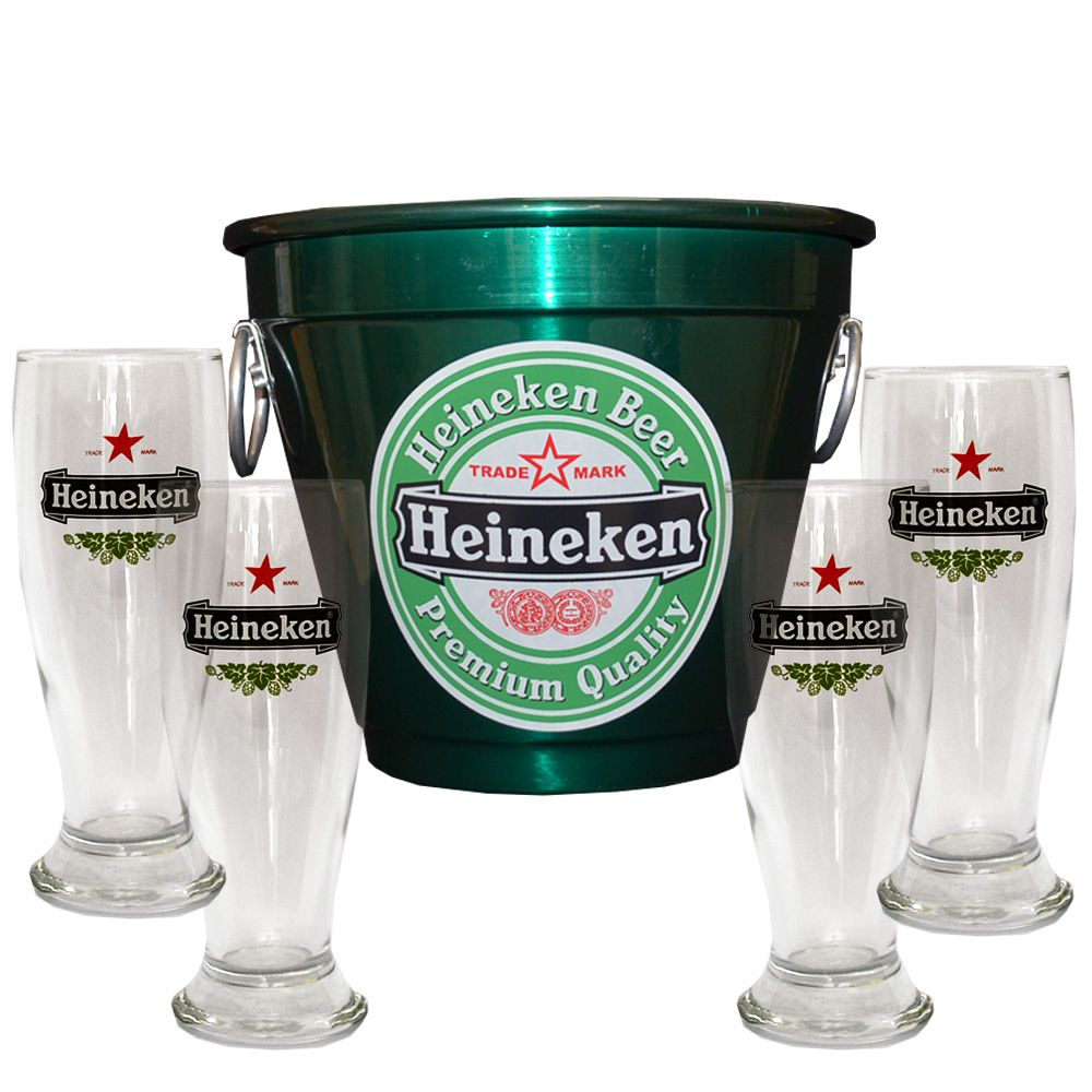 Kit Balde Cerveja + 4 Tulipa Hkn Verde Home Bar