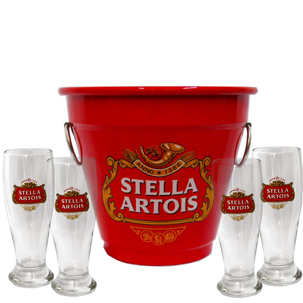 Kit Balde Cerveja + 4 Tulipa Stella Artois Home Bar