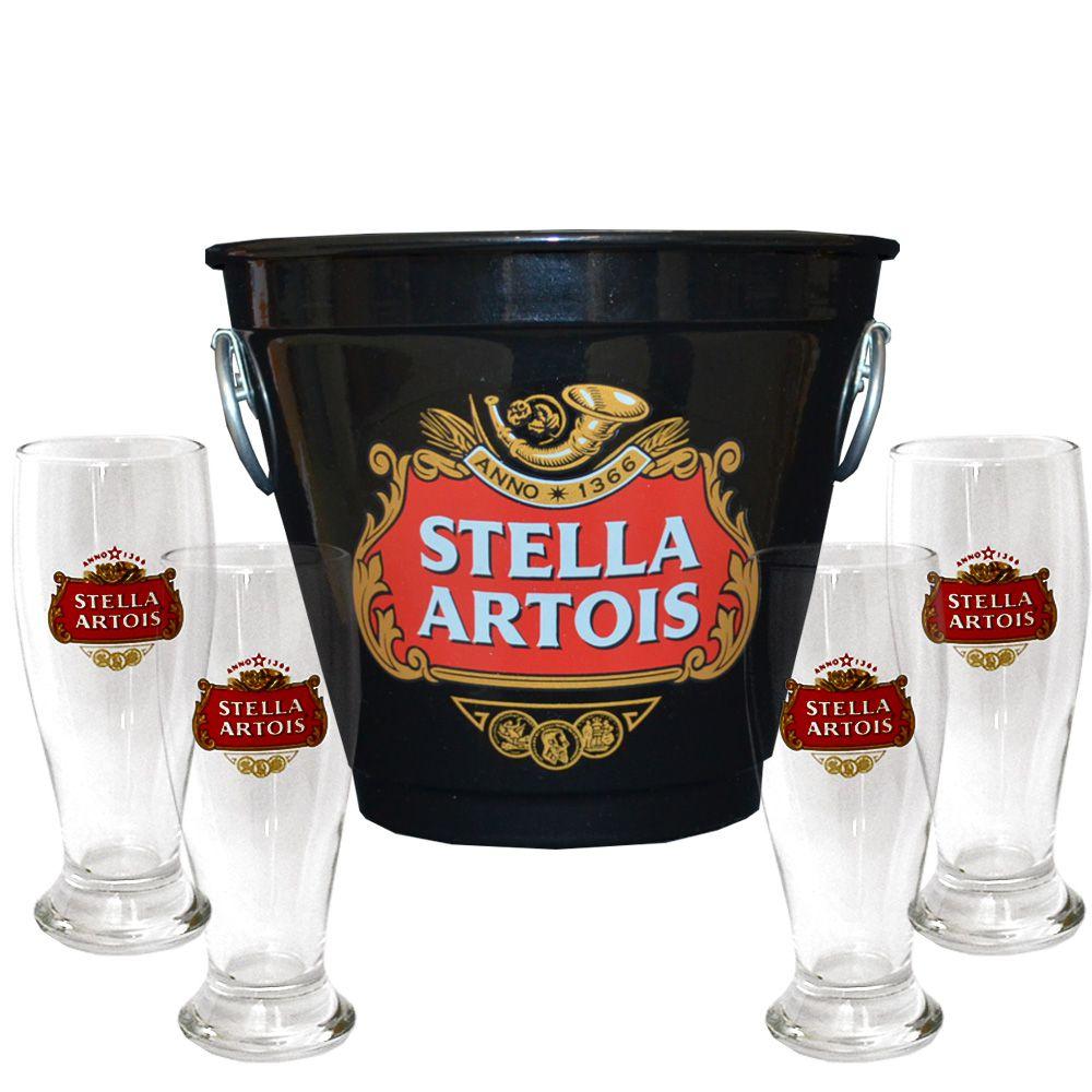 Kit Balde Cerveja + 4 Tulipa Stella Artois Preto Home Bar