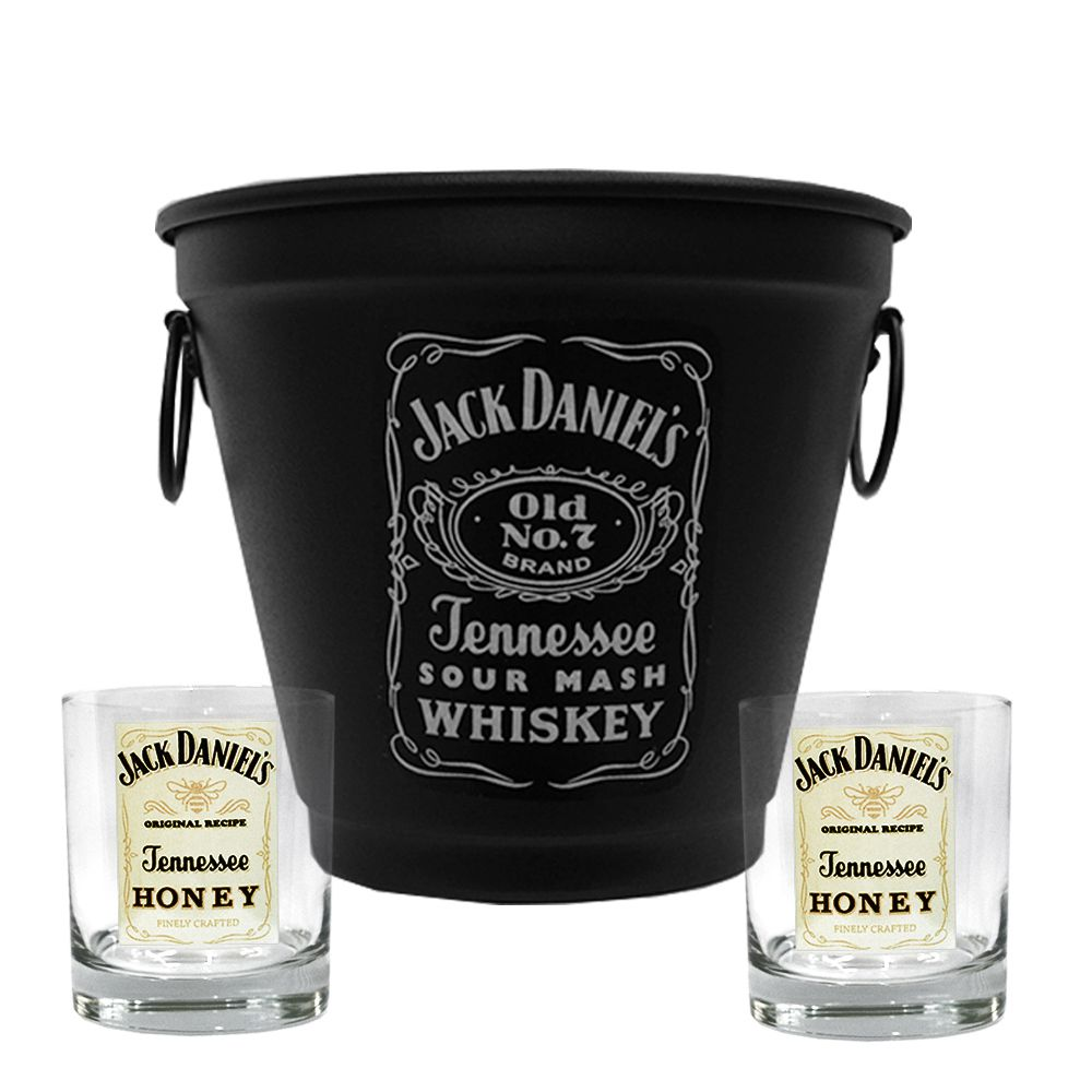 Kit Balde Fosco + 2 Copos Jack Daniel's Mel\Honey 290ml Whisky
