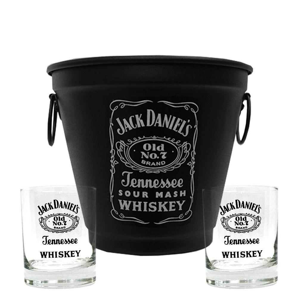 Kit Balde Fosco + 2 Copos Jack Daniel's sem fundo 290ml Whisky