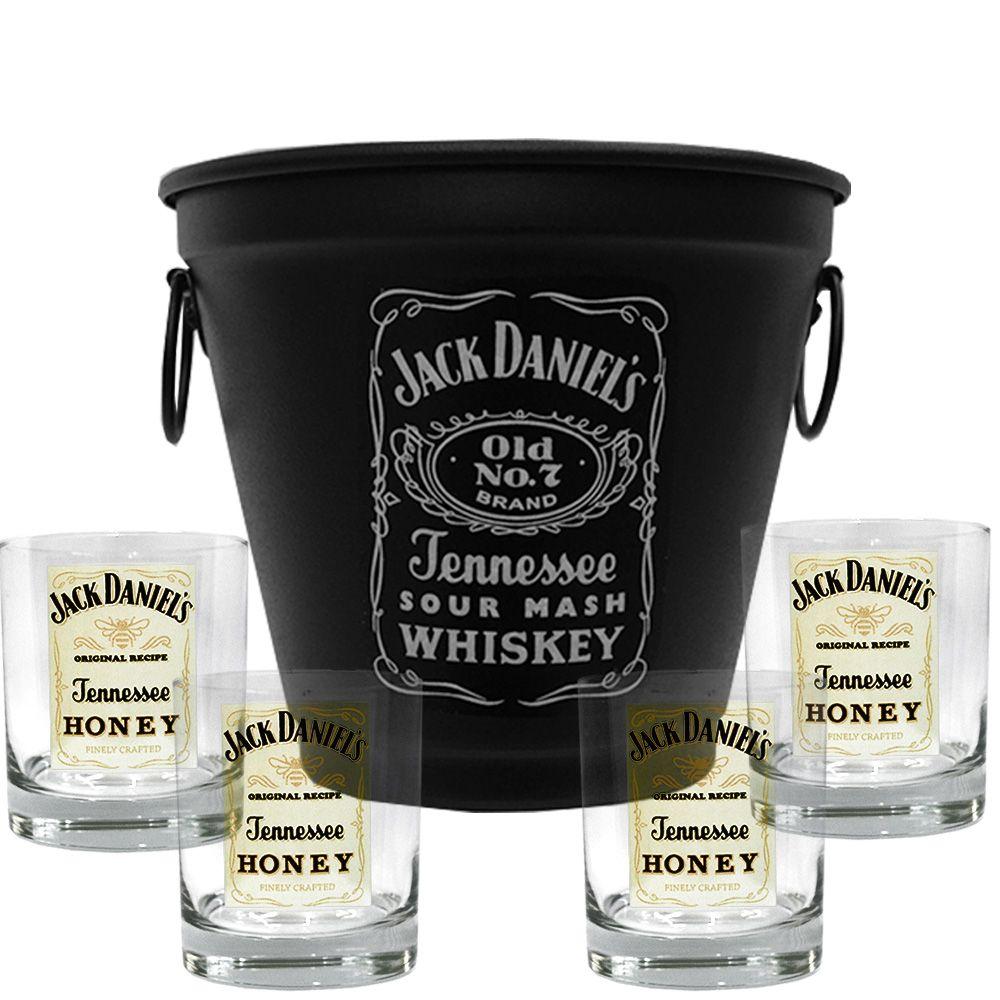 Kit Balde + 4 Copos Jack Daniel's Mel\Honey 290ml Whisky