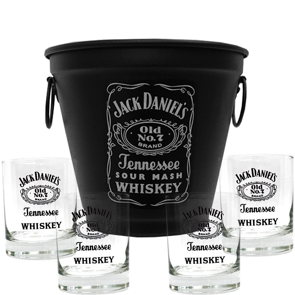 Kit Balde Fosco + 4 Copos Jack Daniel's sem fundo 290ml Whisky