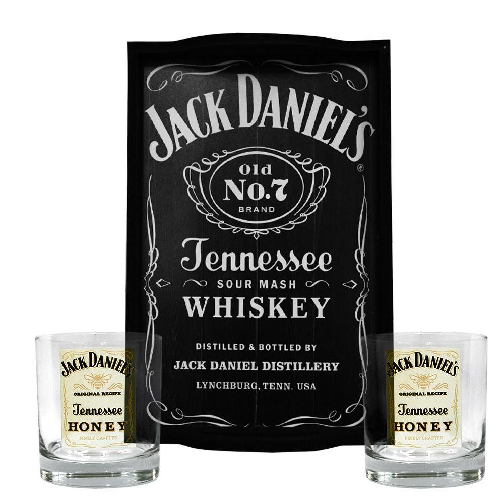 Kit Bandeja (P) + 2 Copos Jack Daniel's Honey Mel 290ml Whisky
