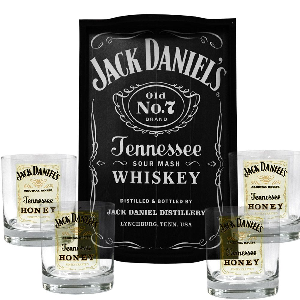 Kit Bandeja (P) + 4 Copos Jack Daniel's Honey Mel 290ml Whisky
