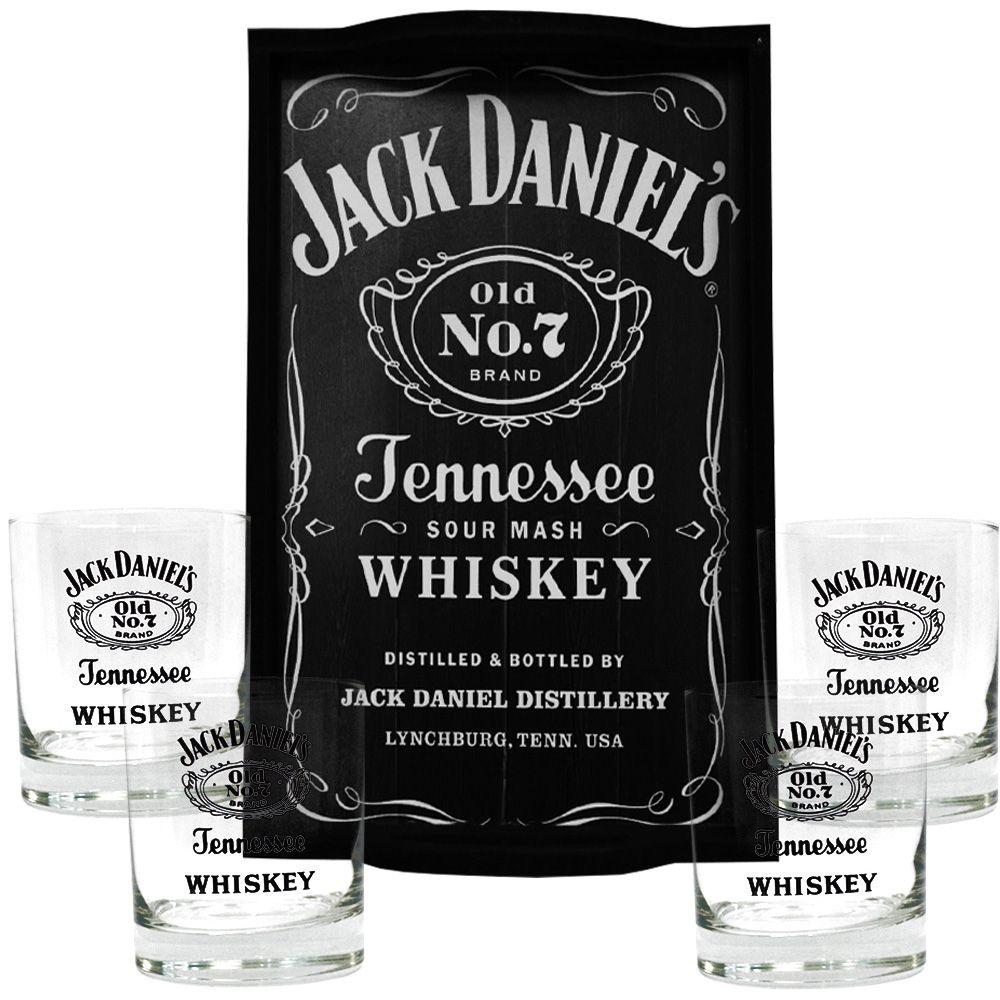Kit Bandeja (P) + 4 Copos Jack Daniel's sem fundo 290ml Whisky