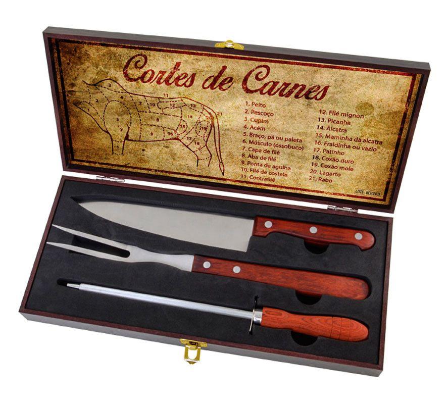 Kit Churrasco Aço Inox + Tábua  de Bambu + Case 4 peças Chef BBQ Presente