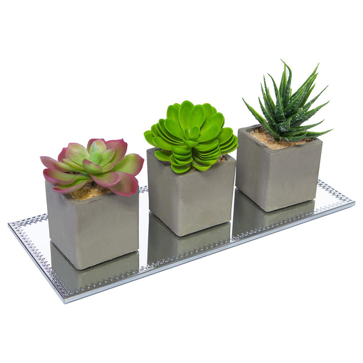 Kit com 3 Vasinhos Decorativos Planta Permanente Suculenta Mini