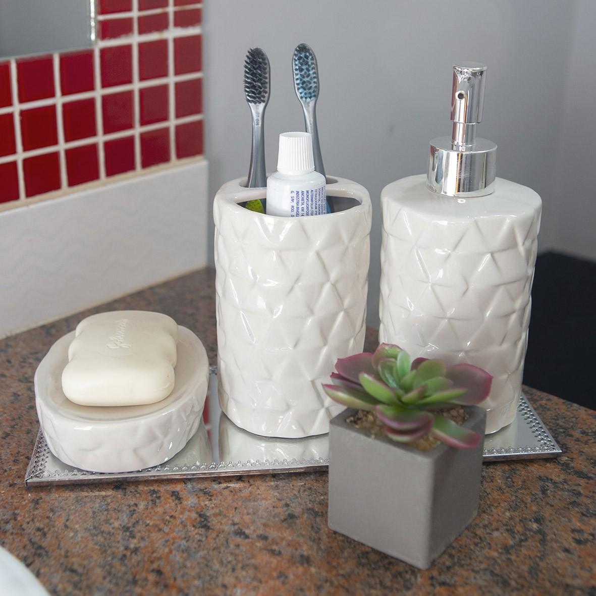 Kit para Banheiro 3 peças Branco com Base Espelhada