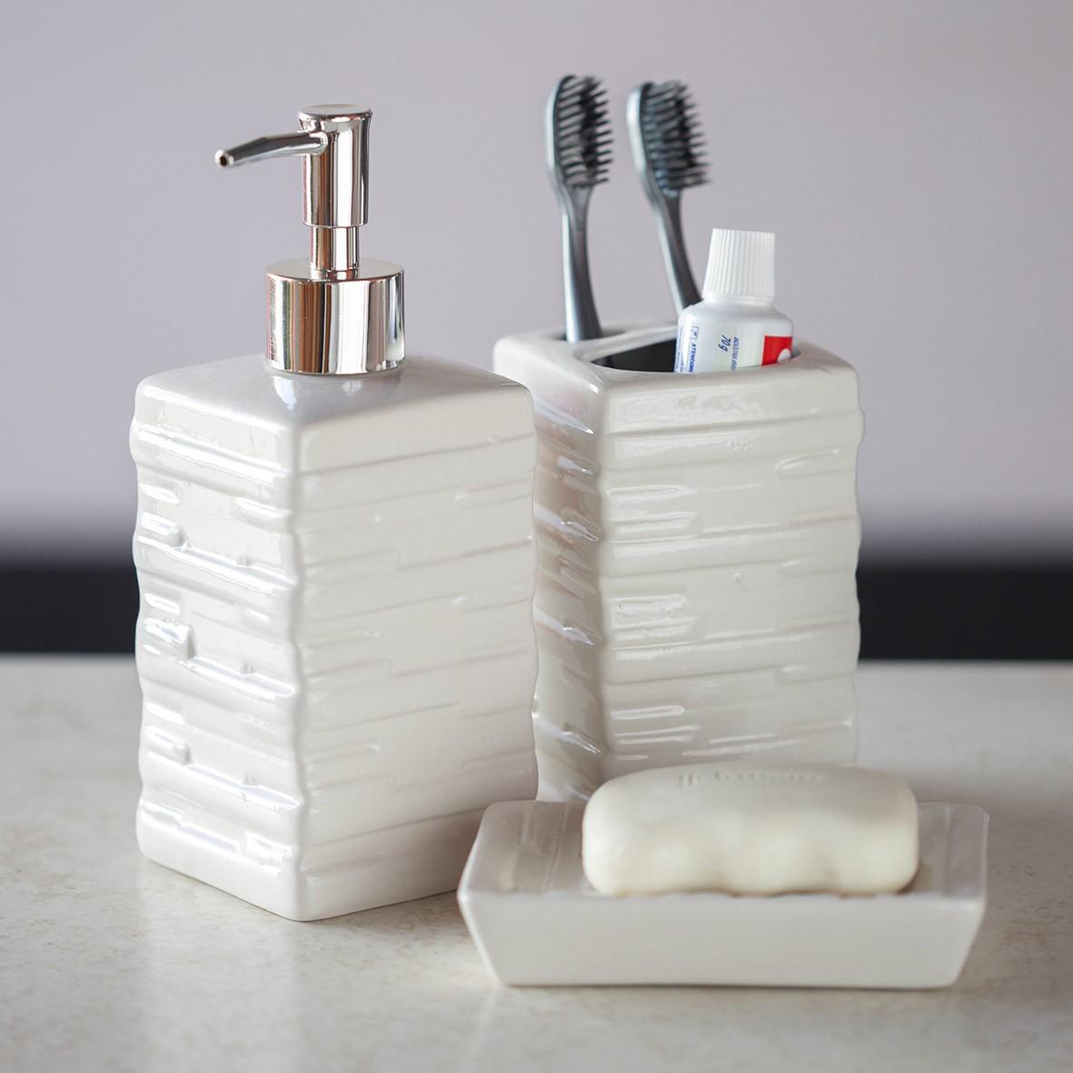 Kit para Banheiro 3 peças Branco Quadrado