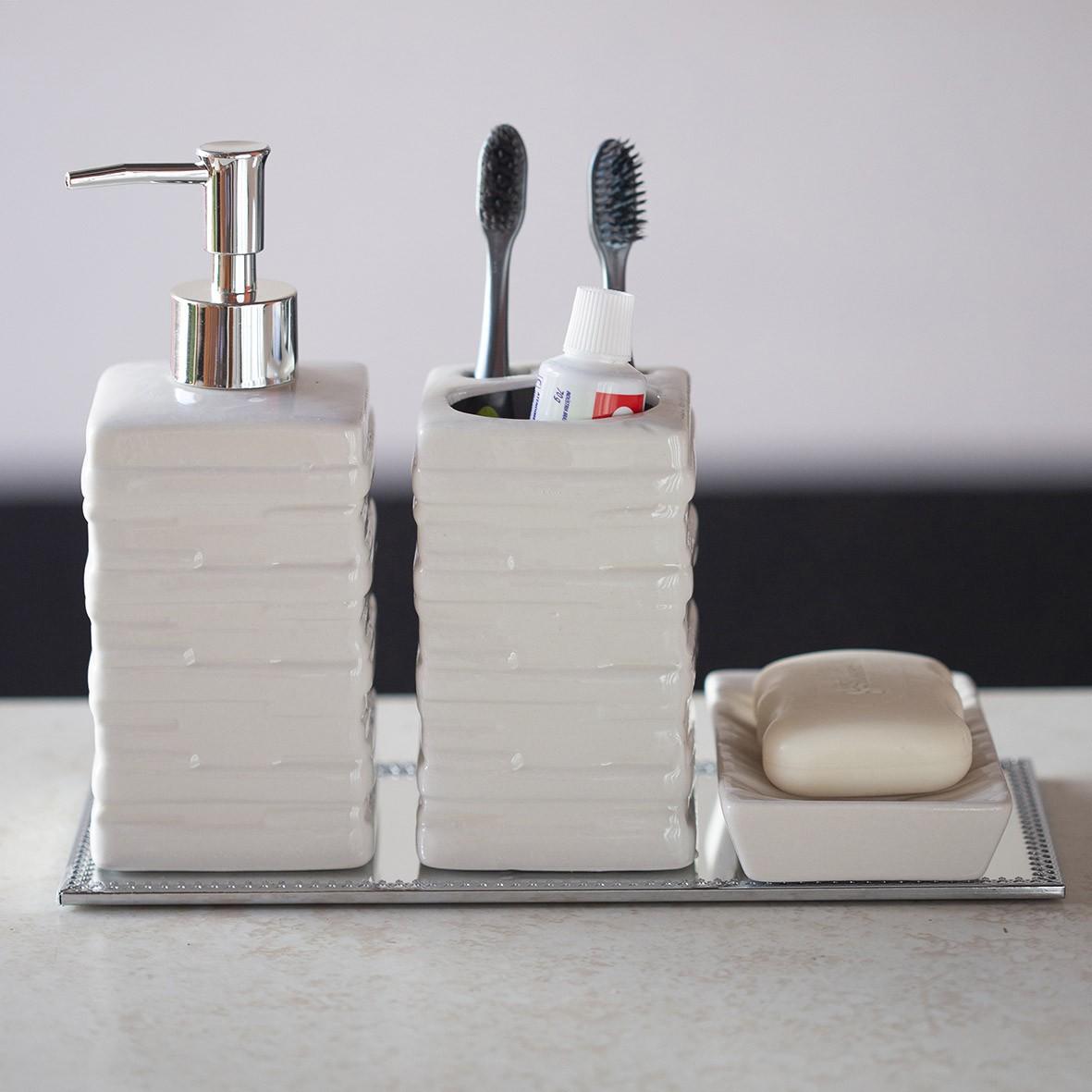 Kit para Banheiro 3 peças Branco Quadrado com Base Espelhada
