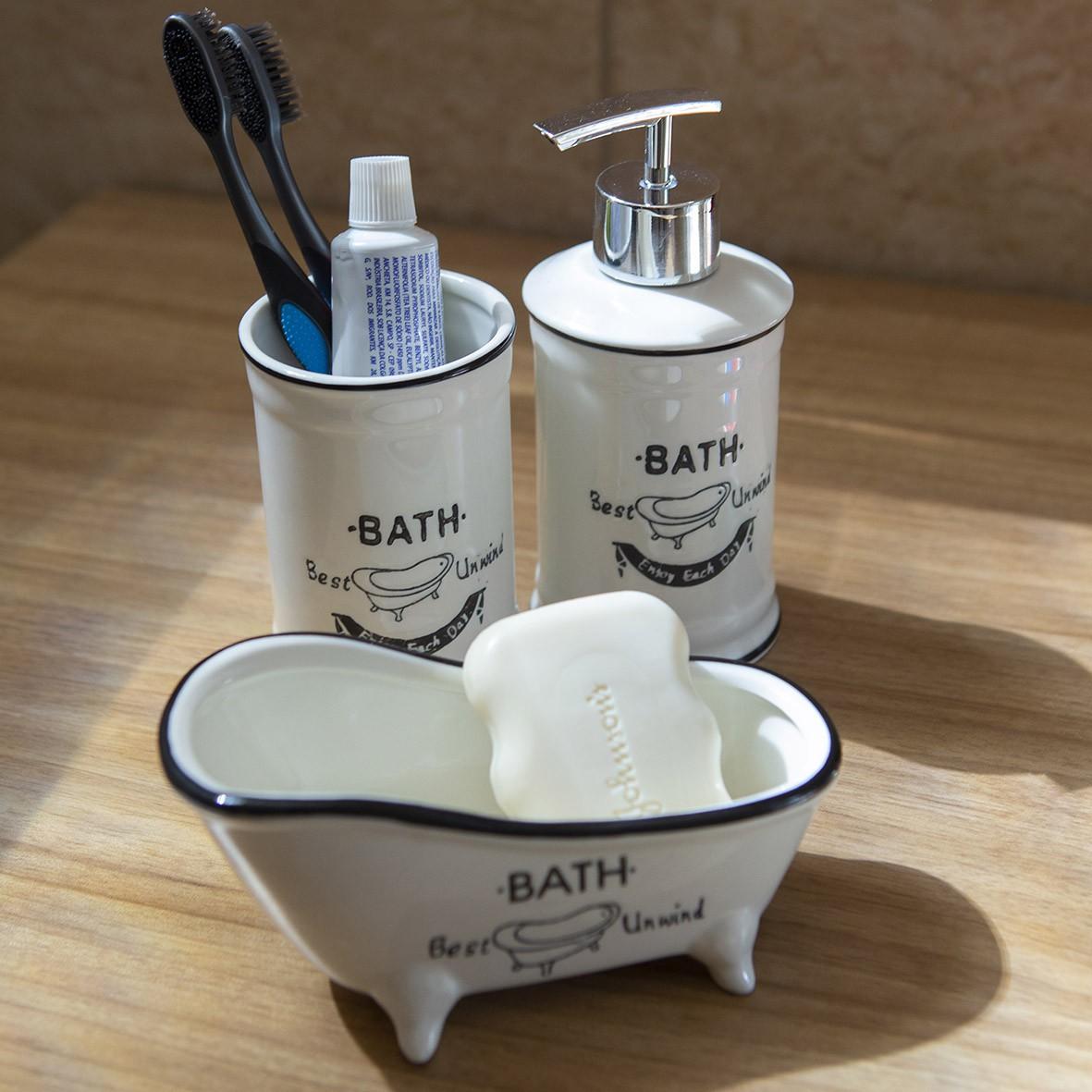 Kit para Banheiro 3 peças Preto e Branco itens Clássicos