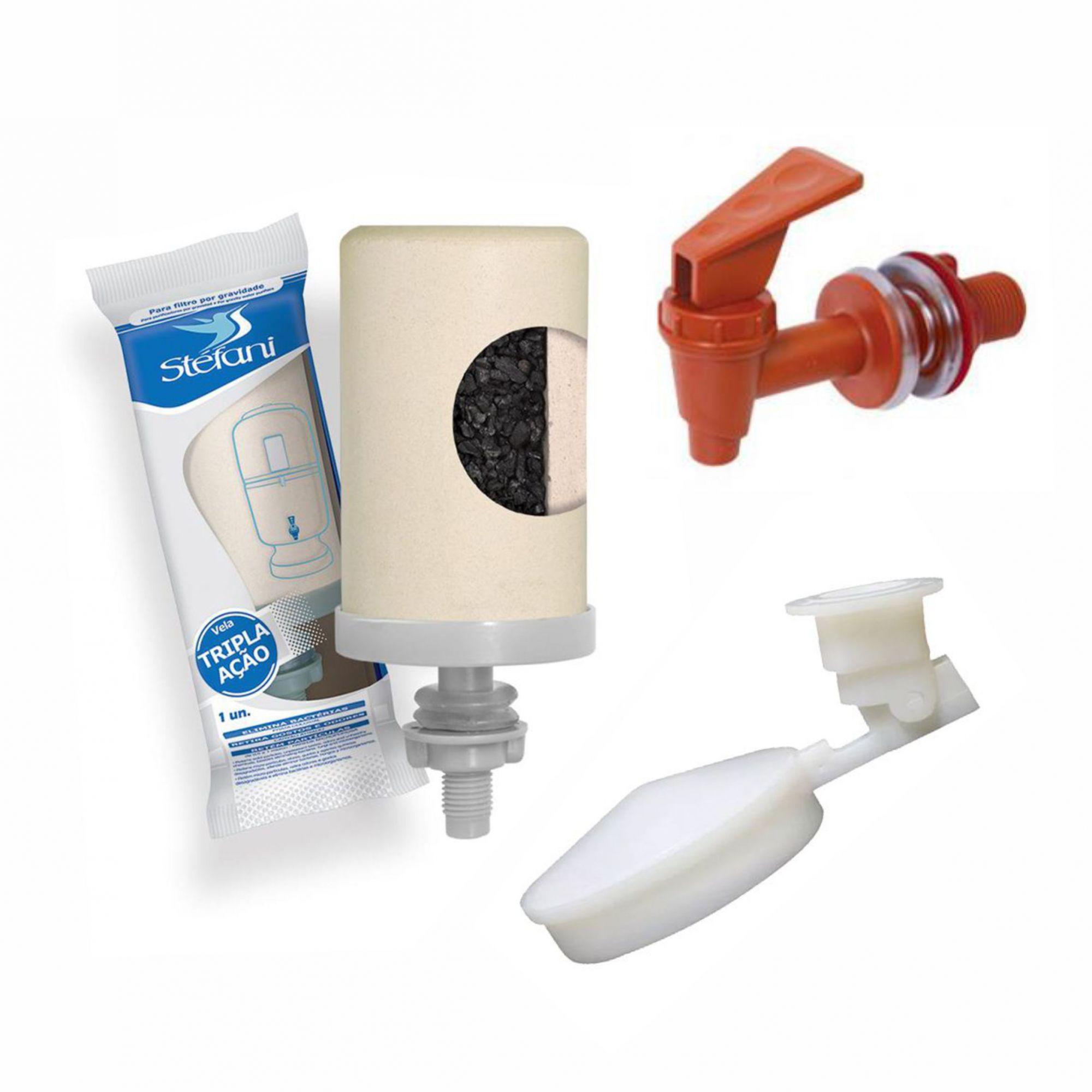 Kit para Filtro de Barro Vela Esterilizante, Boia e Torneira