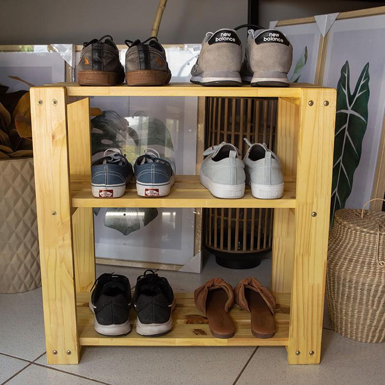 Organizador de Sapatos 3 Andares Sapateira p/ Porta de Casa em Madeira Natural