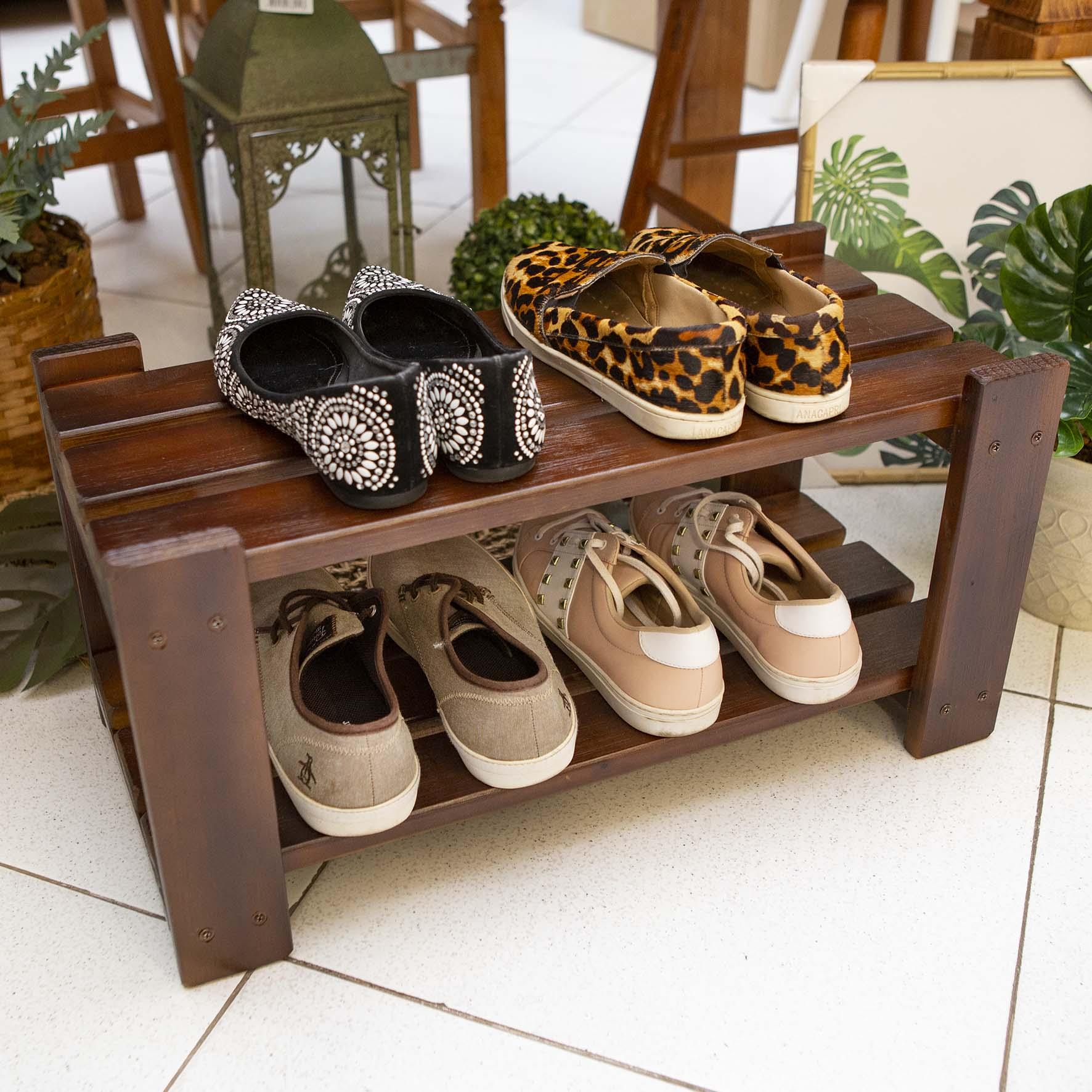 Organizador de Sapatos Sapateira p/ Porta de Casa em Madeira Cor Imbuia