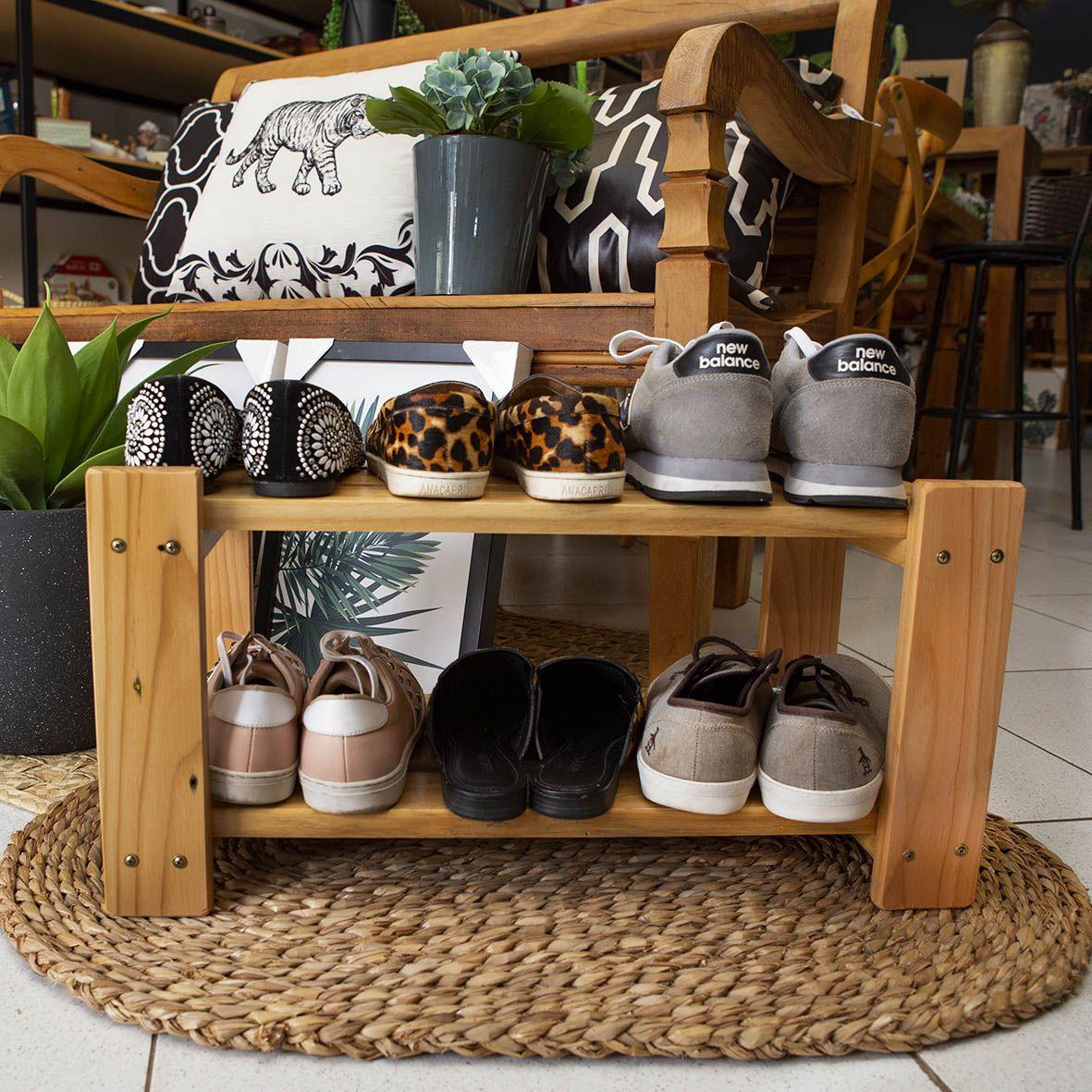 Organizador de Sapatos Sapateira p/ Porta de Casa em Madeira Cor Natural